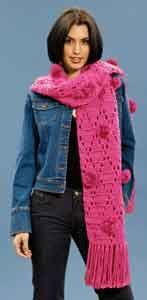 Pom Pom Crochet Scarf