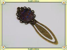 Marque-pages retro Plume paon bleu et marron resine et laiton bronze