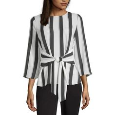 Worthington Womens Round Neck Sleeve Woven Blouse – JCPenney Blusa tejida con cuello redondo y manga para mujer Worthington Blouse Styles, Blouse Designs, Buy Gowns Online, Neon Pink Tops, Jessica Parker, Flare Top, Mode Hijab, Blouse Dress, Pulls