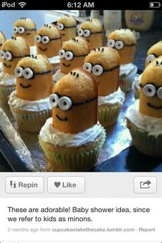 Vanilla cupcakes with a Twinkie decorated like a yellow dude from Despicable Me