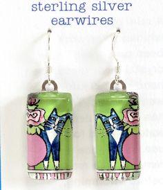 Cat Earrings/ Gray Tuxedo Kitty Wearable by SusanFayePetProjects, $18.00