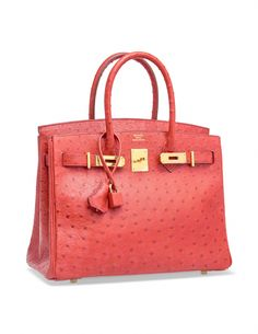 4ccce81204d6 A ROUGE VIF OSTRICH BIRKIN 30 WITH GOLD HARDWARE