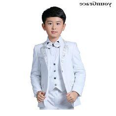 34.30$  Buy here - https://alitems.com/g/1e8d114494b01f4c715516525dc3e8/?i=5&ulp=https%3A%2F%2Fwww.aliexpress.com%2Fitem%2FNew-2016-Wedding-Boys-White-Blazer-Wedding-Suit-Brand-Kids-4PCS-Formal-Suit-with-Bowtie-Boys%2F32716141748.html - New 2016 Wedding Boys White Blazer Wedding Suit Brand Kids 4PCS Formal Suit with Bowtie Boys Party Tuxedos Acting Costume, C269  34.30$