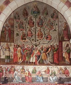 Painting from the Cathedral at Limburg showing the genealogy of Our Lady and Our Lord, also known as the Tree of Jesse. As we celebrate the Nativity of the Blessed Virgin Mary, let us recall her Davidic ancestry..Sept 8th