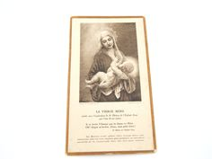 Rare Vintage French Breastfeeding Virgin Mary Catholic Holy Card - Religious Ephemera - La Vierge Mere Prayer Card - Nursing Madonna by LuxMeaChristus on Etsy
