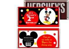 Mickey Mouse Clubhouse Birthday Candy Bar Wrappers Party Favors
