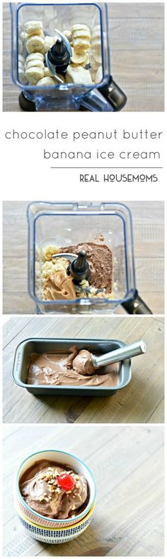 Chocolate Peanut Butter Banana Ice Cream is only 3 ingredients, amazing and totally guiltless!