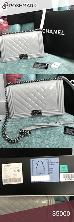 CHANEL BOY  PATTAN GRAY BAG  RARE BAG Beautiful bought from Chanel in NM it is in great used condition used it about 10 times max. Notice price réflex the tiny pen mark in photo I have not tried to get it off the bag since you can't hardly see it. Corners are perfect hardware is perfect as well looks like new just as photos show all sales final will go to Poshmark headquarters to verify authenticity CHANEL Bags Shoulder Bags