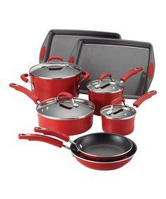 Red 12-Piece Cookware Set #zulily #zulilyfinds
