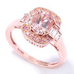 NYC II 1.53ctw Morganite, Pink Sapphire & White Topaz Baguette Ring