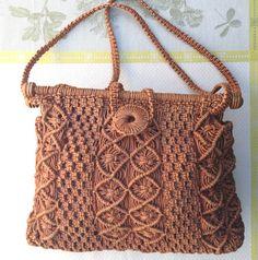 Handmade Rust Colored Jute Beatnik Era Macrame Handbag