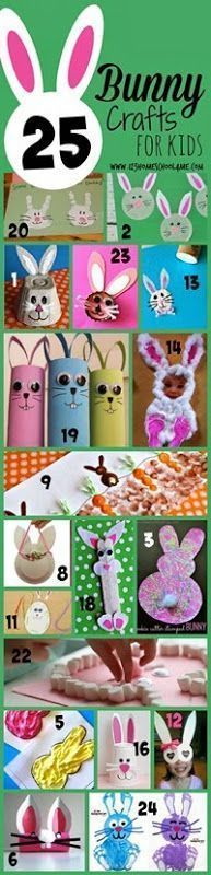 25 Bunny Crafts for Kids - These are such fun, creative ideas for spring crafts or Easter crafts for Kindergarten, and elementary age kids too!