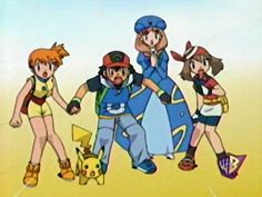 Notice how Ash and Misty are holding hands to protect each other.