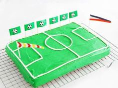 Soccer Field Cake : Frost a 13-by-9-inch single-layer cake with green frosting. Pipe a line of white frosting around the edge of the cake to represent the sidelines. Then pipe a center line, a center circle and boxes on both ends of the cake to complete the field. Soccer-themed flag picks (which you can find at most party supply stores) make the cake extra festive.