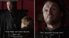 """And here we have Bronn, son of..."" - #TyrionLannister ""You wouldn't know him."" - #Bronn  #GameofThrones #GameofThronesQuotes #GoTQuotes #GoT #ThePointyEnd #GoTFans #asoiaf #PeterDinklage #JeromeFlynn"