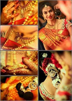 South Indian bride in bridal saree, jewellery and makeup