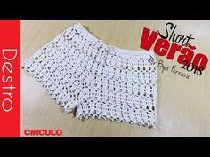 [Destro] Short em crochê Verão 2018 P - M - G e GG | BYA FERREIRA - YouTube Tops A Crochet, Crochet Pants, Crochet Romper, Crochet Skirts, Crochet Blouse, Love Crochet, Crochet Clothes, Crochet Lace, Baby Dress Tutorials