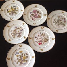 Royal Danube 1886 Botanical Butterfly Dessert Plates Set of Six by aniadesigns on Etsy