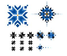 A cornflower emblem I worked on for a while. The design is based on Estonian folk patterns, typically consisting of stars. Craft Patterns, Quilt Patterns, Art Projects, Sewing Projects, Star Quilts, Geometric Designs, Pattern Art, Baby Quilts, Art Sketches