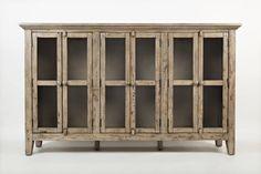 Rustic Shores Grey Acacia Solid Veneer 70 Inch Accent Cabinet