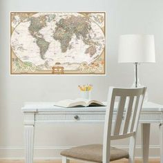 World map wall decal.