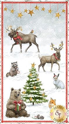 Friendly Gathering collection from Wilmington Prints features snowy prints full of woodland creatures perfect for any Christmas project. Create a beautiful quilt from this fabric line by Michael Davis. Christmas Fabric Panels, Wilmington Prints, Shabby Fabrics, Woodland Christmas, Cotton Quilting Fabric, Christmas Illustration, Woodland Creatures, Longarm Quilting, Winter Theme