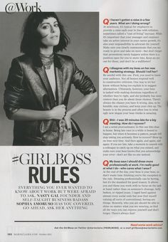 Sophia Amoruso answers your business-related questions in her latest column in Marie Claire #GIRLBOSS