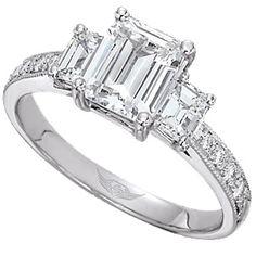 3 Stone Emerald Cut Engagement Ring