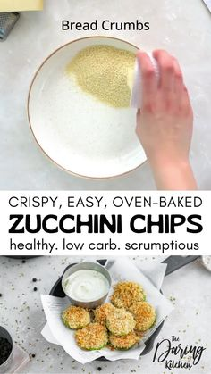 With summer's zucchini bounty, I couldn't help but make another delicious and healthy zucchini recipe. With just the power of your oven, you can create the crispiest and most scrumptious zucchini chips ever. These make the perfect summer appetizer or afternoon snack! Strawberry Dessert Recipes, Vegan Breakfast Recipes, Healthy Dessert Recipes, Vegan Desserts, Raw Food Recipes, Vegan Appetizers, Vegan Snacks, Vegan Meals, How To Cook Zucchini