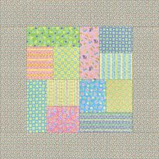 Nice Pattern, mixed in with large solid squares so you could still see the fabric patterns.