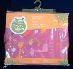 ~~ GAGOU TAGOU ~ Hot Pink Giraffe Two Piece Crib Set ~ NEW! UNOPENED! ~~ #GagouTagou