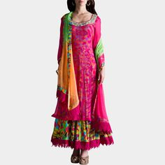This one is a multicolor digital print anarkali finished with a magenta crochet border with a magenta chiffon upper kurta with delicate zardozi parrot embroidery on neckline. Shop now at: http://www.tadpolestore.com/multicolor-digital-print-anarkali-14517.html