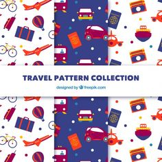 Pack of travel patterns Free Vector