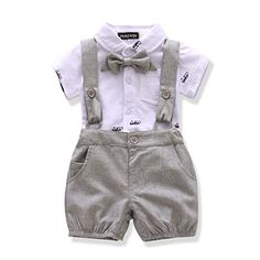 Ferenyi US Baby Boys Bowtie Gentleman Romper Jumpsuit Overalls Rompers months, Gray US Baby Boys Bowtie Gentleman Romper Jumpsuit Overalls Romperbr Set Include: Jumpsuitbr months)br Jumpsuit Length: Full Length br Material: Polyester, Cotton. Baby Boy Dress, Cute Baby Boy Outfits, Really Cute Outfits, Cute Baby Clothes, Kids Outfits, Baby Boy Jumpsuit, Baby Boy Fashion, Kids Fashion, Designer Baby Clothes