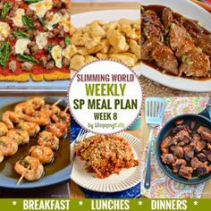 Slimming Eats SP Weekly Meal Plan - Week 8 - Slimming World - taking the work out of planning so you can just cook and enjoy the food. slimming world diet plan Sp Meals Slimming World, Slimming World Vegetarian Recipes, Slimming World Breakfast, Slimming World Plan, Slimming Eats, Slimming World Recipes, Slimming Word, Sw Meals, Frugal Meals