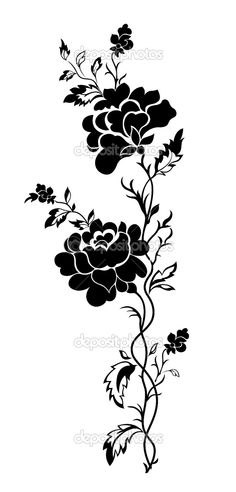 rose silhouette Drawing Stencils, Stencil Painting, Fabric Painting, Stenciling, Stencil Patterns, Stencil Designs, Embroidery Patterns, Flower Pattern Drawing, Fabric Paint Designs