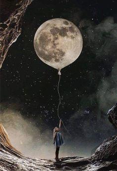 Moon Balloon Art - PBN Kit - 60x75cm / 24x30in / Frameless