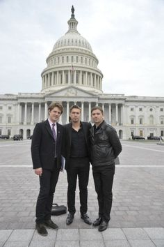 Taylor Hanson Isaac Hanson and Zac Hanson pose for a photo between... News Photo 482358223