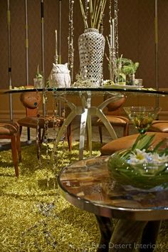 Tableau 2012 - Our tablescape featuring modern desert elements  #moderndesign #desertdesign #owl #antelopechair #JuanMontoya #horntable #Mcnamara #CenturyFurniture #SuryaRug