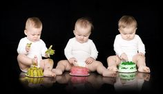Triplets with Birthday Cakes