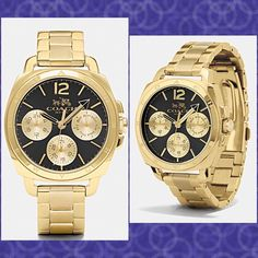 Authentic Coach Gold Women's Watch % AUTHENTIC ✨ Beautiful gold women's watch from Coach  Sporty subdials add pretty complexity to the striking face of this classic metal link gorgeous watch Shock resistant & water resistant to 99 feet✨ Perfect everyday watch NO TRADE Coach Accessories Watches