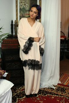 ee3bff18f3 Silk Kimono Robe with Black Lace Trim Peach Silk Bridal Robe Lingerie Silk  Sleepwear