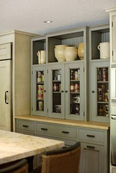 Pantry & Baking Center - traditional - kitchen - portland - Jenni Leasia Design  benjamin moore paint color in Gray mist. Love the colors here for kitchen