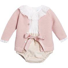 Paloma De La O Baby Girls Pink 3 Piece Shorts Set at Childrensalon.com