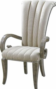 Uttermost Danette Armchair by Uttermost. $767.80. Length 31. Style Transitional. Soft Almond Linen And Cotton Woven Cover With Polished Nickel Nail Head Accents.. Solidly Constructed Hardwood Frame Hand Rubbed In Light Barn Wood Finish. Natural Wood Tones Are Complimented By Channel Tufted. Width 23.75. Solidly constructed hardwood frame hand rubbed in light barn wood finish. Natural wood tones are complimented by channel tufted, soft almond linen and cotton woven cover ...