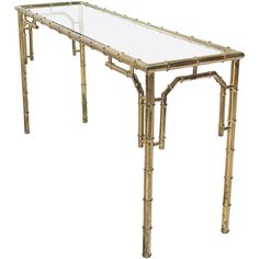 Faux Bamboo Metal and Glass Console Sofa Table | From a unique collection of antique and modern console tables at https://www.1stdibs.com/furniture/tables/console-tables/