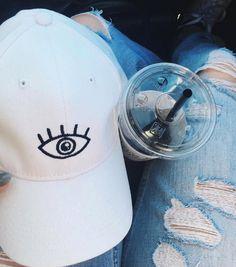 third eye white hat twill cap hat momhat baseball style mom hat Cute Caps 4e81d04f41b2