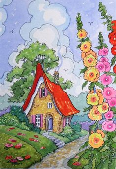 """At the Edge of the Road Storybook Cottage Little House series"" original fine art by Alida Akers"