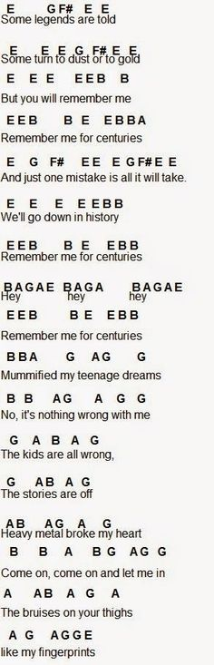 "Centuries part 1// for ""broke my heart"" on the piano, go on octive higher, play E, another octave higher, E & G"