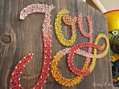 DIY String Art Kit - Free Fast Shipping - Joy String Art Sign - DIY Kit - String, Nails, Instructions, Stained Wood Board, Pattern